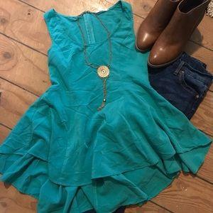 Very J high low ruffle bottom blouse